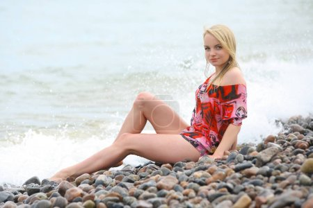Photo for Young beauty girl with bikini on sea background - Royalty Free Image