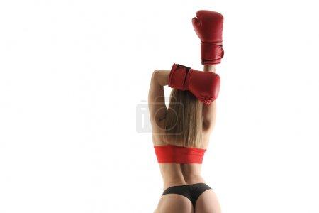 Foto de Joven bonita boxeadora mujer en blanco y negro foto - Imagen libre de derechos