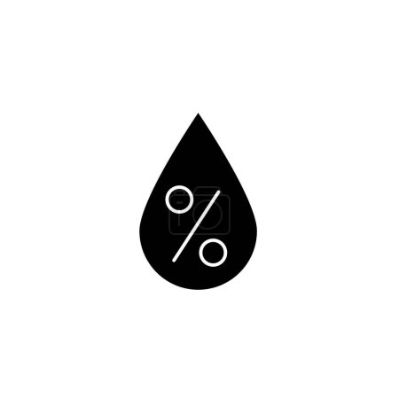 Illustration for Black Water drop percentage icon isolated on white background. Humidity analysis. Vector Illustration - Royalty Free Image
