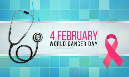 Illustration for Vector illustration on the theme of World Cancer Day on February 4th. - Royalty Free Image