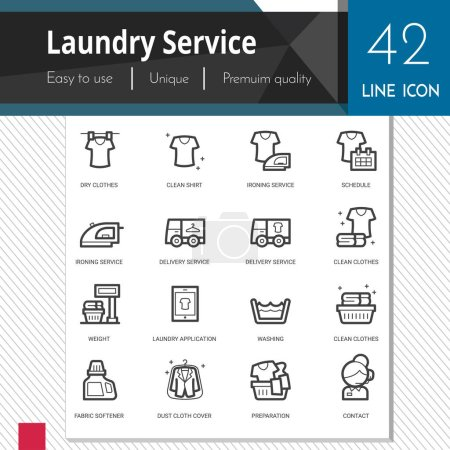 Laundry service elements vector icons set on white background.  Premium quality outline symbol collection. Stroke vector logo concept, web graphics.