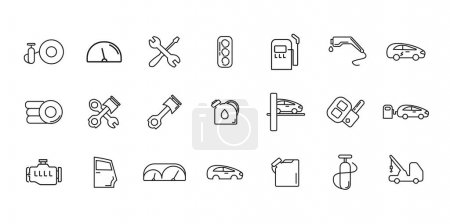 Illustration for Auto service icon set with air filter, fueling vector line icons - Royalty Free Image