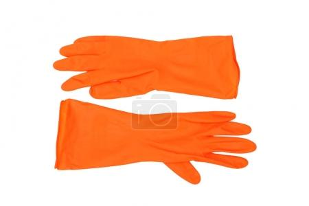 Photo for Protective gloves in orange color isolated - Royalty Free Image