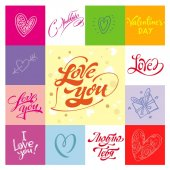 Love greetings hand lettering set 06 (patchwork) / Love hand lettering set of 6 themed handmade calligraphic inscriptions scalable and editable vector illustration (eps)