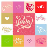 Love greetings hand lettering set 05 (patchwork) / Love hand lettering set of 7 themed handmade calligraphic inscriptions scalable and editable vector illustration (eps)