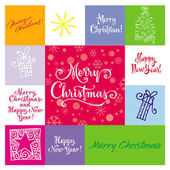 Merry Christmas greetings hand lettering set 04 (patchwork) / New Year hand lettering set of 6 themed handmade calligraphic inscriptions scalable and editable vector illustration (eps)