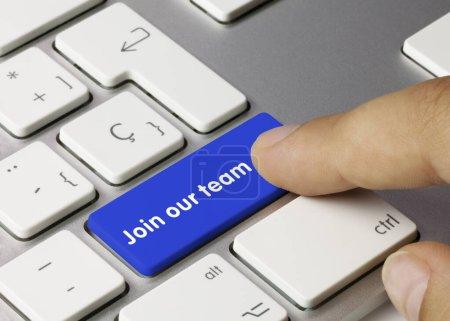 Rejoignez notre équipe Écrit sur Blue Key of Metallic Keyboard. Touche de pression des doigts .