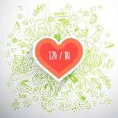 Helthy lifestyle heart concept doodle illustration
