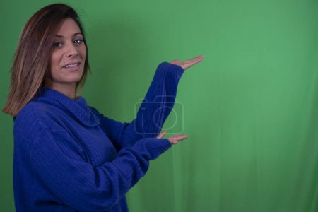 Photo for Natural woman pointing with chroma background - Royalty Free Image