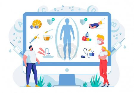 Illustration for Healthy Lifestyle Habits Flat Vector Illustration. Online Wellness Course. People Studying Balanced Nutrition and Sufficient Sleep Time, Rest Principles. Daily Hygiene, Vaccination and Workout Rules - Royalty Free Image