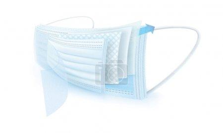 Illustration pour Masque à trois couches pour éviter l'infection - image libre de droit