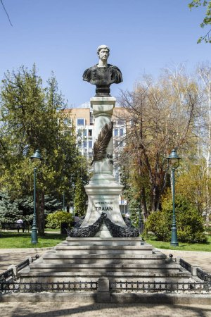 DROBETA TURNU-SEVERIN, ROMANIA-APRIL 04: The Statue Of Roman Emperor Trajan on April 04, 2018 in Drobeta Turnu-Severin.