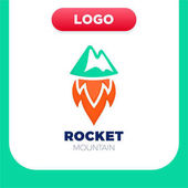 Rocket Mountain logo Top and speed spaceship with fire