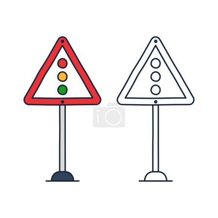 Illustration for Triangular traffic sign with a traffic light. Vector icon in doodle cartoon style with outline - Royalty Free Image