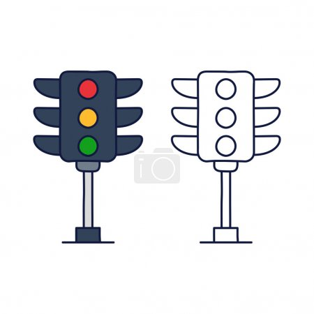 Illustration for Traffic light icon vector from driving school collection in doodle style. Thin line traffic light outline icon vector illustration - Royalty Free Image
