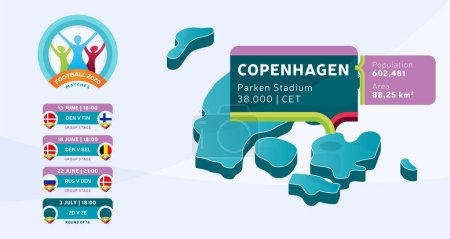 Isometric Denmark country map tagged in Copenhagen stadium which will be held football matches vector illustration. Football 2020 tournament final stage infographic and country info