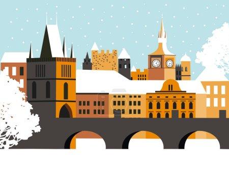 Winter Pragua city.