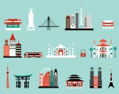 Vector illustration of Symbols of famous cities