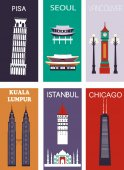 famous cities and landmarks banners