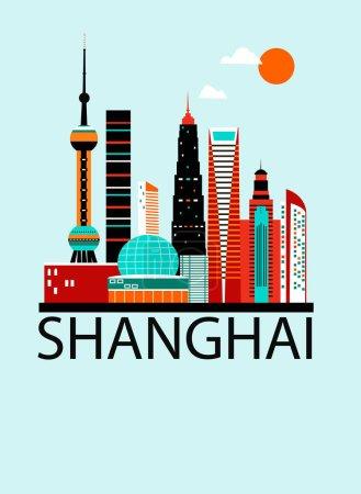 Illustration for Vector illustration design of Shanghai city postcard - Royalty Free Image