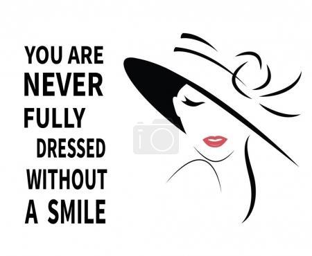 Illustration pour Belle Femme en chapeau avec citation. Vecteur - image libre de droit
