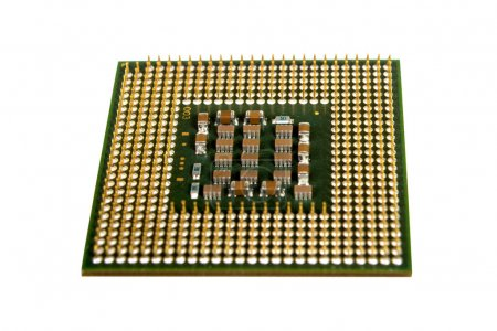 Photo for The micro elements of computer central processor unit, CPU contact pins close up. - Royalty Free Image