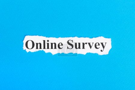 Online Survey text on paper. Word online Survey on...