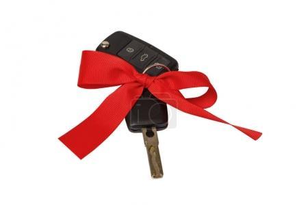 geschenk, schlüsselkonzept, mit, roter, schleife, auf - B172988170