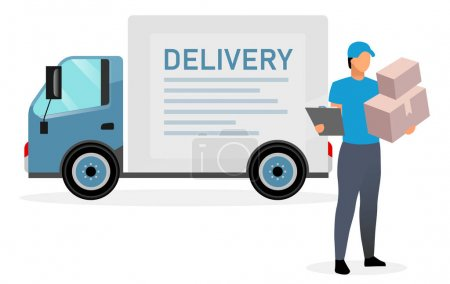 Photo for Deliveryman with parcels flat illustration. Courier, postman holding cardboard boxes and clipboard isolated cartoon character on white background. Delivery van, cargo truck. Shipping service concept - Royalty Free Image