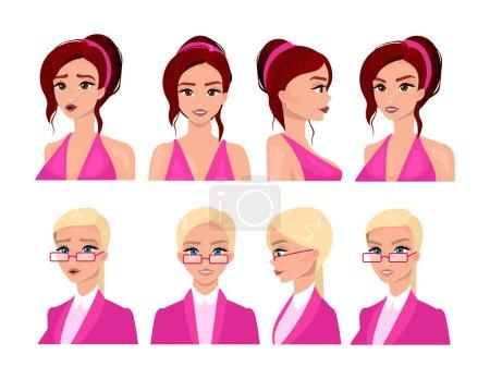 Illustration pour Visages féminins ensemble d'illustrations vectorielles plates. Belles avatars femmes aux cheveux blonds et bruns, différentes expressions faciales. Elégante collection de portraits de jeunes filles. Personnages de bande dessinée isolés - image libre de droit