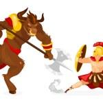 Theseus and Minotaur flat vector illustration. Gre...