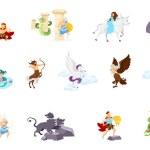 Greek mythology flat vector illustrations set. Min...