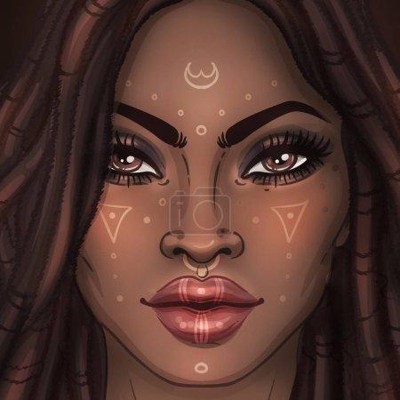 African American pretty girl. Raster Illustration of Black Woman