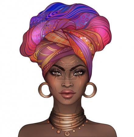 African American pretty girl. Raster Illustration of Black Woman