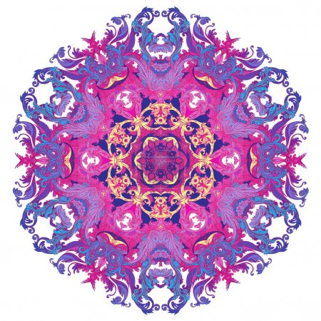 Vintage baroque Mandala. Beautiful round pattern. Hand drawn abs