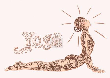 Young pretty girl doing yoga. Vintage decorative  illustration.