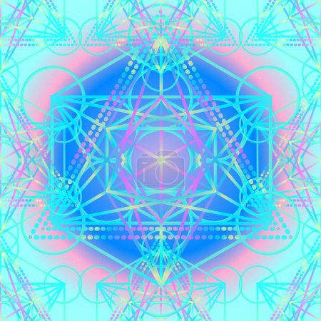 Sacred Geometry Symbols in Mandala seamless pattern. Vintage dec