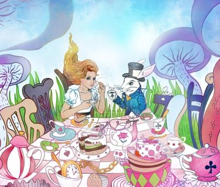 Mad Tea Party. Alice's Adventures in Wonderland illustration. Gi