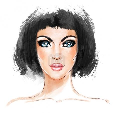 Woman face. Hand painted fashion illustration isolated on white.