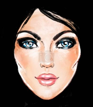 Woman face. Hand painted fashion illustration isolated over blac