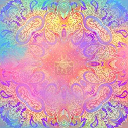 Kaleidoscopic Mandala inspired pattern. Beautiful vintage illust