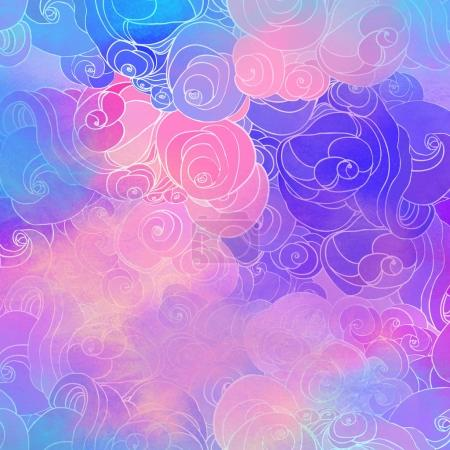 Color raster abstract hand-drawn pattern with waves and clouds i