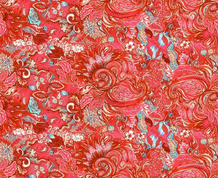 Pattern with beautiful ornate flowers. Linear painting, tropical
