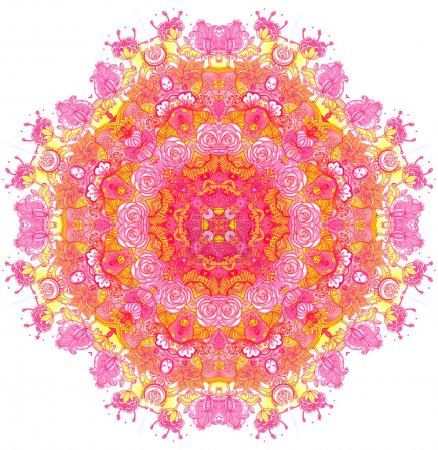 Detailed floral silk scarf design. Round shaped ornate pattern.