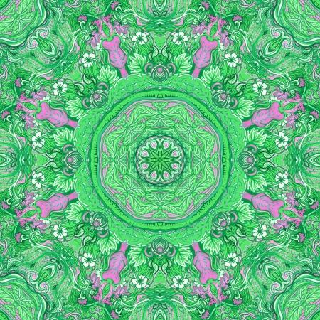 Photo for Detailed floral silk scarf design. Round shaped ornate pattern. Roses and other flower. Print for fabric, trendy t-shirt, rug or yoga pad. - Royalty Free Image