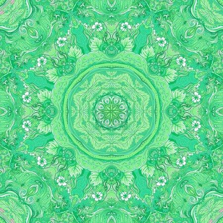Detailed floral silk scarf design. Round shaped ornate pattern.