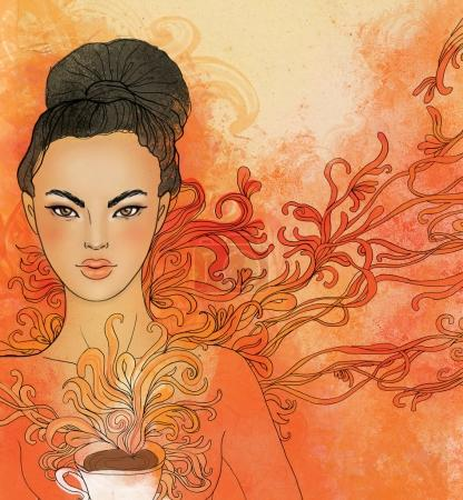Tea ceremony, vector  background with japanese girl.