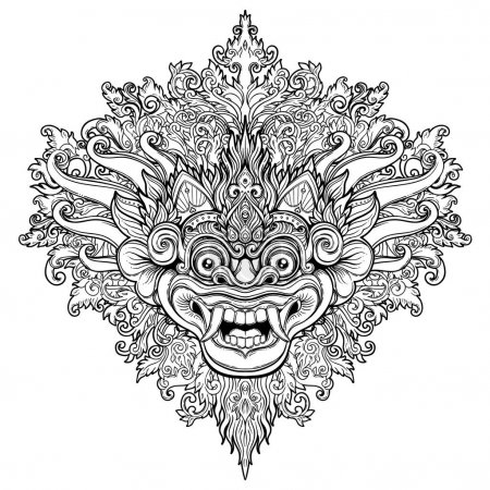 Barong. Traditional ritual Balinese mask. Vector decorative orna