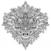 Barong Traditional ritual Balinese mask Vector decorative orna