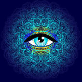 Sacred geometry symbol with all seeing eye in acid colors Mysti